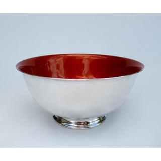 Vintage Reed & Barton Tangerine Orange Interior Enameled Paul Revere Serving Bowl Preview
