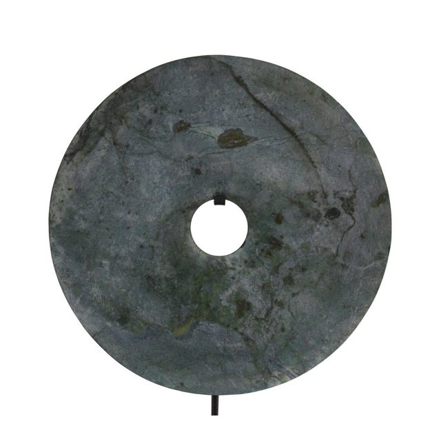 Chinese Natural Green Stone Feng Shui Round Good Luck Display For Sale - Image 5 of 7
