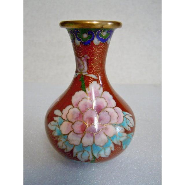 Mid 20th Century Asian Style Cloisonné Bulbous Vase For Sale - Image 5 of 5