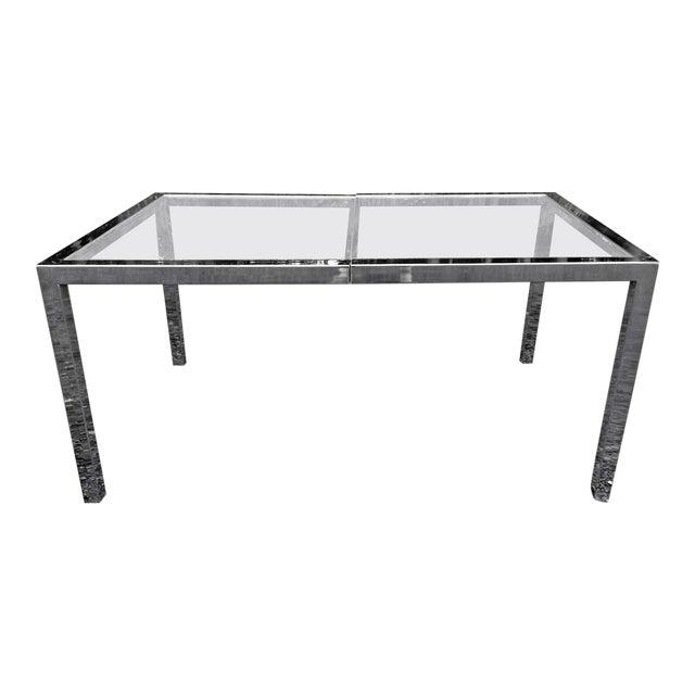 Milo Baughman Chrome& Glass Dining Table - Image 1 of 8