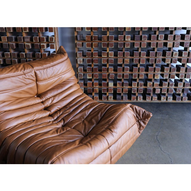"""Michel Ducaroy for Ligne Roset """"Togo"""" Leather Lounge Chairs - a Pair For Sale In Los Angeles - Image 6 of 13"""