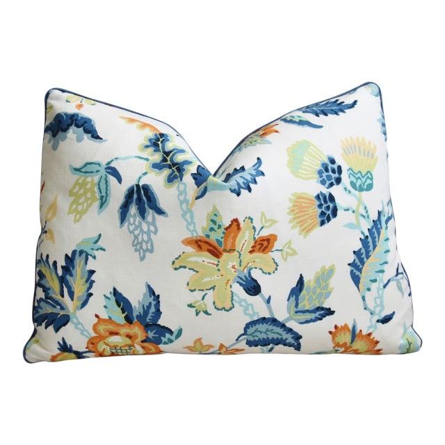 "Schumacher Scottish Thistle Floral Feather/Down Pillow 22"" X 16"" For Sale"