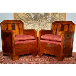 Pair French Art Deco Mahogany Red Club Armchairs, 1930 Preview