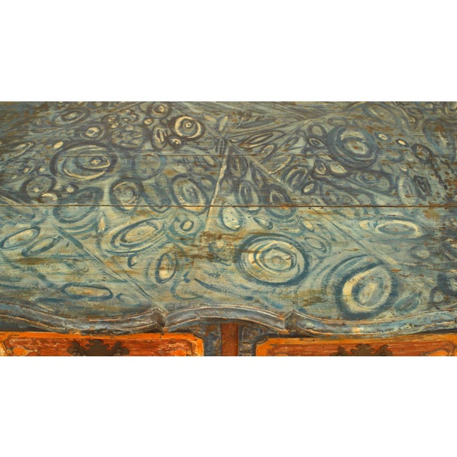 Rustic Continental 'Portuguese' 18th Century Orange and Blue Painted Commode For Sale In New York - Image 6 of 7