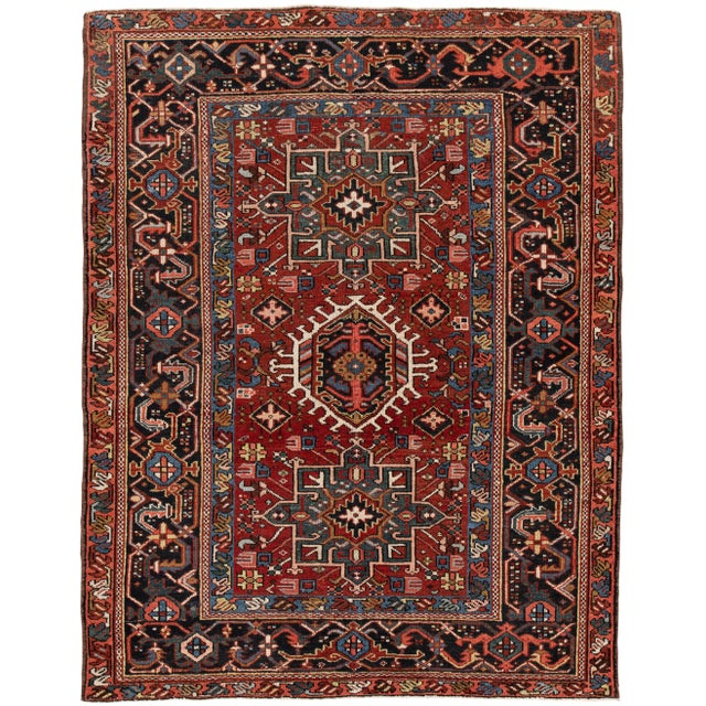 "Apadana - Vintage Persian Heriz Rug, 4'9"" X 6'1"" For Sale In New York - Image 6 of 6"