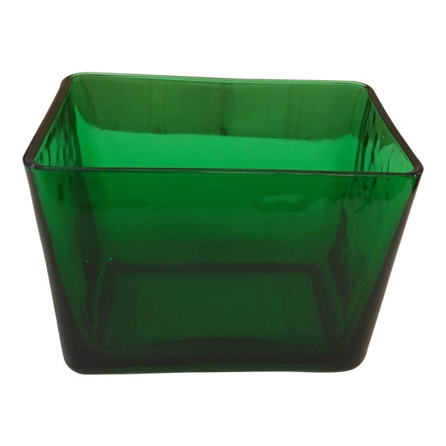 Mid-Century Emerald Green Glass Planter - Image 1 of 11