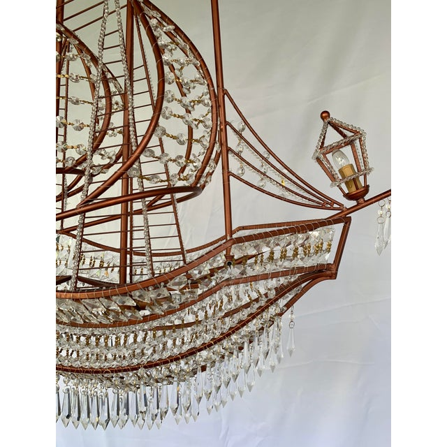 Rose Gold and Crystal Ship Chandelier For Sale In Houston - Image 6 of 7