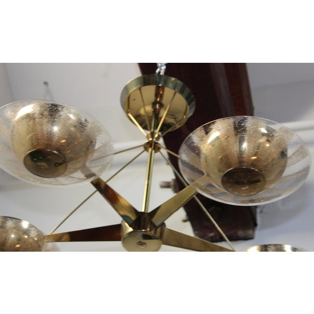 Metal Gerald Thurston for Lightolier Brass and Glass Chandelier For Sale - Image 7 of 13