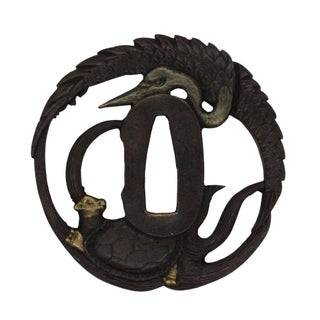 Ronze Quality Handcrafted Japanese Round Tsuba With Crane and Dragon Turtle Art Preview