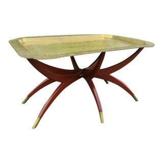 Mid Century Modern Spider Folding Brass Tray Top Low Coffee Table For Sale