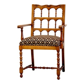 Elizabethan Style Solid Quarter-Sawn Oak Chair For Sale