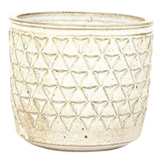 Modern Christian Boehr White Glaze Ceramic Stoneware Planter For Sale