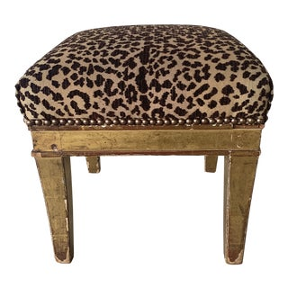 1920s Vintage Tigerkrauet Fabric Stool For Sale