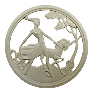 Art Deco Plaster Medallion From a New Orleans Brothel of a Female on a Unicorn For Sale