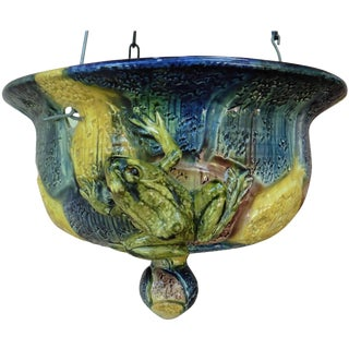 19th Century Victorian Majolica Hanging Frogs Planter For Sale