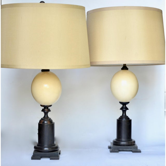 Contemporary Ostrich Egg and Ebony Base Lamps - a Pair For Sale - Image 3 of 8