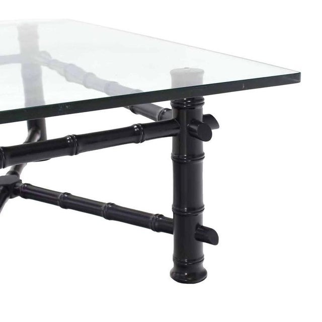 Early 20th Century Faux Bamboo Black Lacquer Glass Top Coffee Table For Sale - Image 5 of 7
