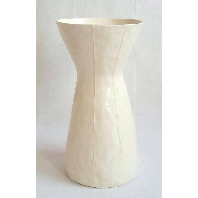 White White Ceramic Vase For Sale - Image 8 of 8
