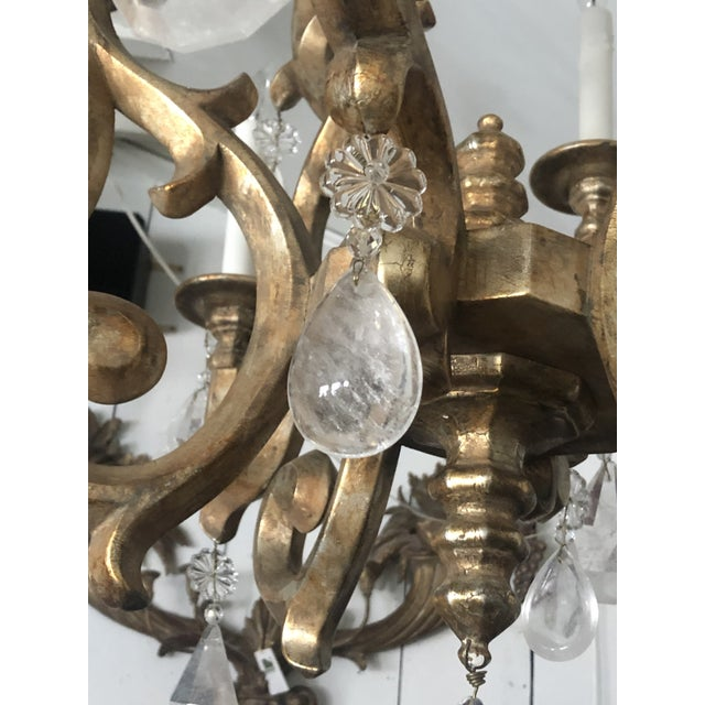 Giltwood Chandelier With Very Large Rock Crystals For Sale - Image 9 of 13
