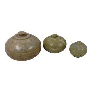 Mid Century Vintage Carved Miniature Stone Containers- Set of 3 For Sale