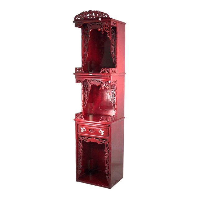 Vintage Chinoiserie Carved Elmwood Lighted Display Curio For Sale