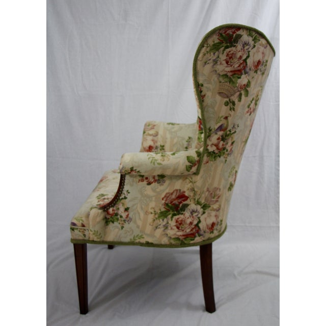 Floral Wingback Armchairs - A Pair - Image 2 of 4