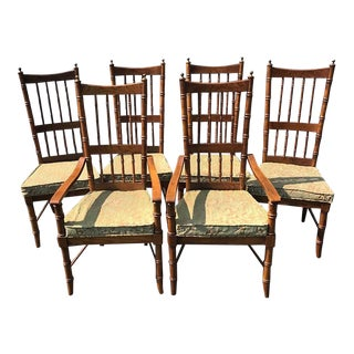 Vintage Stanley Faux Bamboo Dining Chairs Set of Six For Sale
