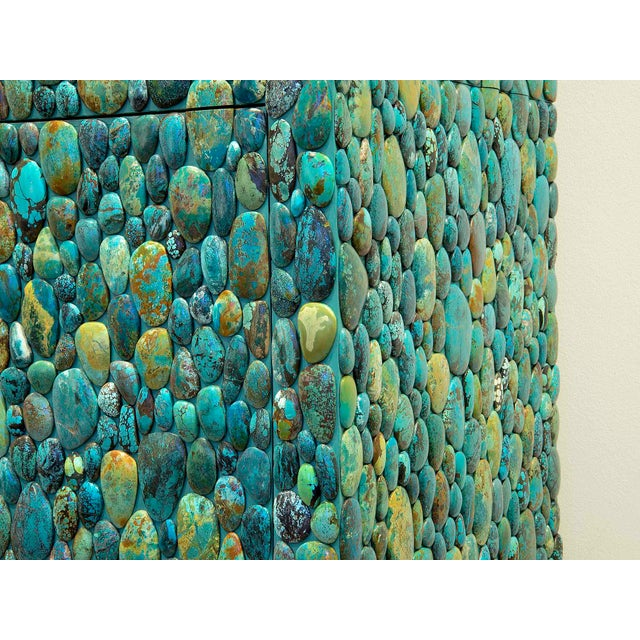 2010s Kam Tin - Turquoise Cabinet With Four Opening Doors, Made of Turquoise Cabochons For Sale - Image 5 of 8
