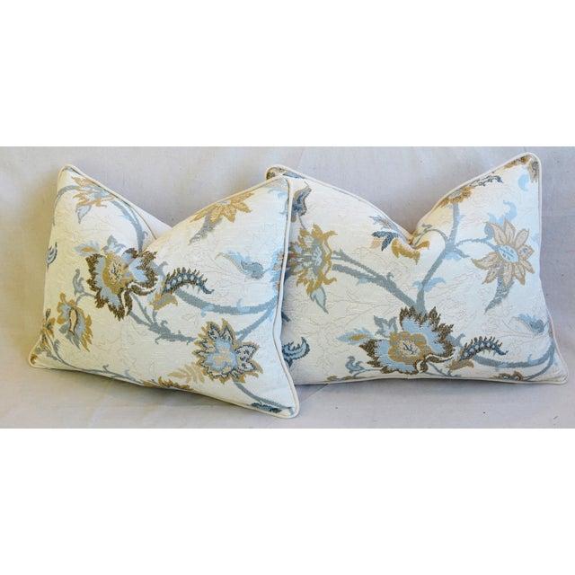 "Designer Italian Floral Linen Velvet Feather/Down Pillows 24"" X 18"" - Pair For Sale - Image 9 of 13"