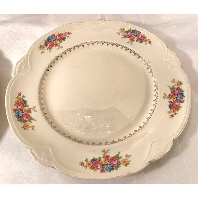 Vintage Homer Laughlin Ivory Floral Dinner Plates - Set of 4 For Sale - Image 4 of 9