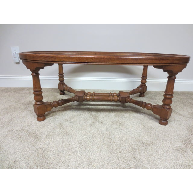 Pennsylvania House Oak & Glass Coffee Table - Image 4 of 7