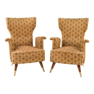 Mid Century Italian Armchairs Form - a Pair For Sale