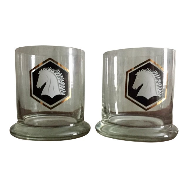 Vintage Black and Gold Horse Glasses - A Pair - Image 1 of 3