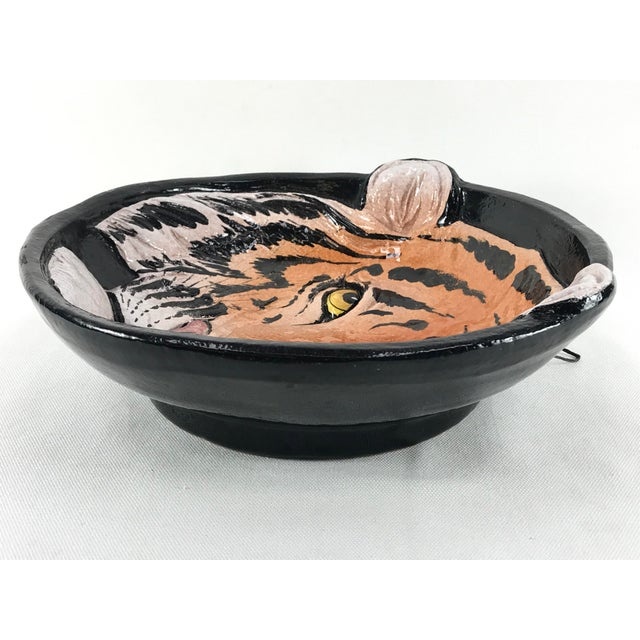 1970s Vintage Italian Ceramic Tiger Face Dish For Sale In Los Angeles - Image 6 of 13
