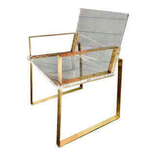 Lucite & Patinated Bronze Chair For Sale