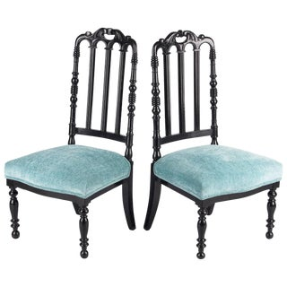 "Late 19th Century Napoleon III Ebonized ""Chauffeuses"" Low Chairs - A Pair For Sale"