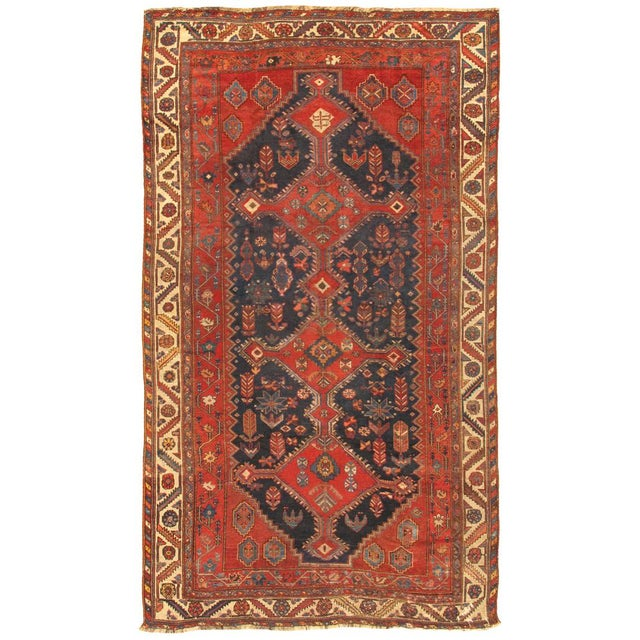 """Transitional Modern Pasargad Home Antique Shiraz Lamb's Wool Area Rug- 6' 7"""" X 11' 3"""" For Sale - Image 3 of 3"""