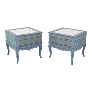 Mid-Century French Provincial Nightstands, a Pair - Vintage Nightstands - Gray Nightstands - Shabby Chic Nightstand - Blue Nightstans For Sale