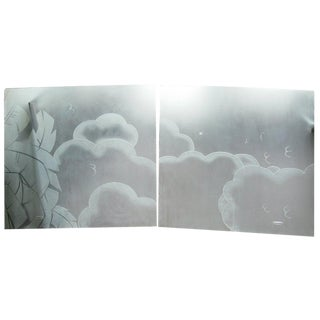 French Art Deco Architectural Etched Glass Cloud Panels - Set of 2 For Sale