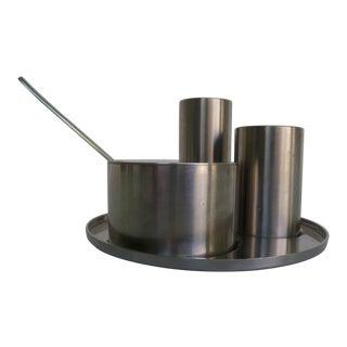 Danish Modern Cylinda Line Condiment Set by Arne Jacobsen for Stelton, Denmark - 5 Piece Set For Sale