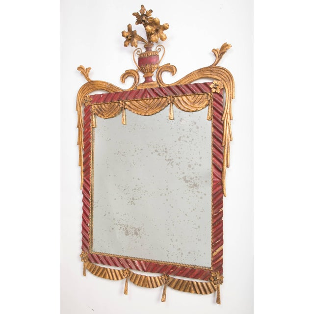 Rococo Dorothy Draper Style Red and Gilt Tole Mirror For Sale - Image 3 of 8