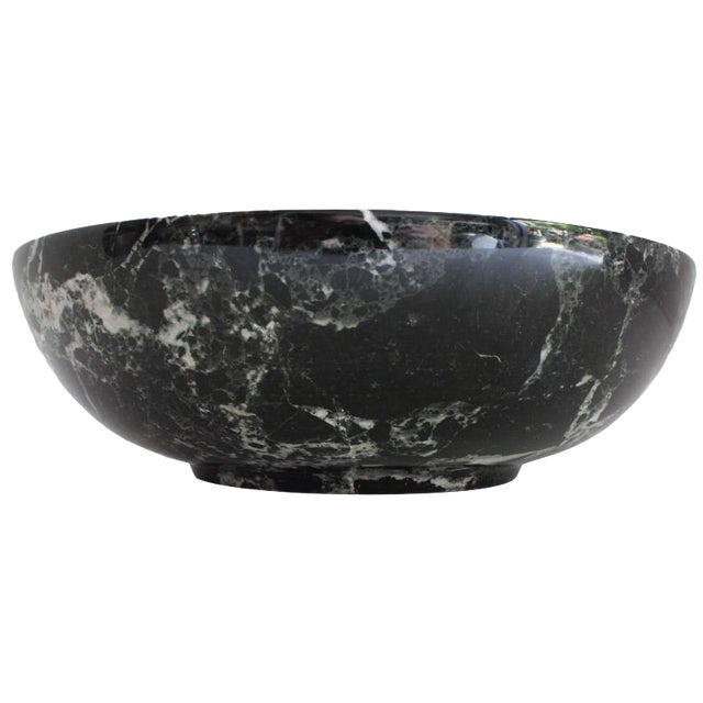 Black Solid Marble Bowl - Image 1 of 5