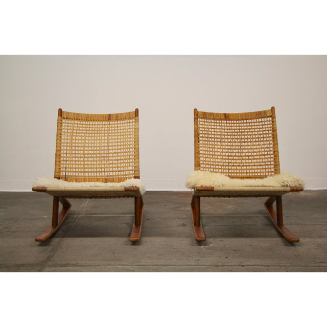 Mid-Century Modern 1950s Mid-Century Modern Frederik Kayser Rocking Chairs - a Pair For Sale - Image 3 of 13