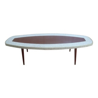 Midcentury Modern Surfboard Coffee Table With Tile Mosaic For Sale