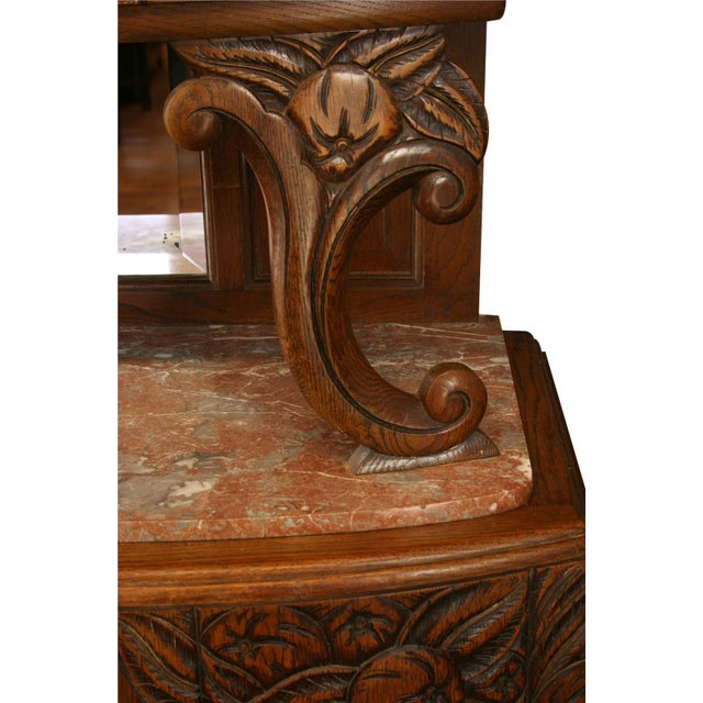 1920 French Art Deco Carved Oak Buffet - Image 8 of 8