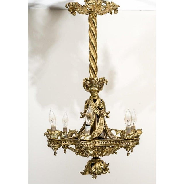 English Gothic Revival Bronze Chandelier For Sale - Image 9 of 13