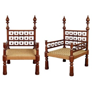 1960s Moroccan Teak Rush Seat Throne Armchairs - a Pair For Sale