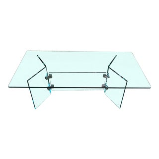 1970s Leon Rosen for Pace Collection Glass Coffee Table For Sale