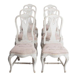Antique White Swedish Baroque Set of Six Dining Chairs For Sale