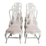Image of Mid 19th Century Antique Swedish Rococo Style Dining Chairs- Set of 6 For Sale